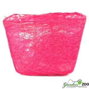 Корзина 100*140*145 квадратная родамин из сизаля