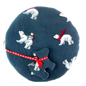 Лежак коврик L круглый с мишками+игрушка 60*60см