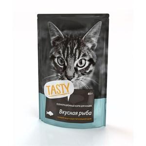 Корм Тэсти для кошек 85г рыба в желе паучи
