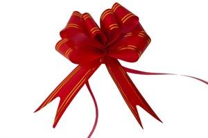 Бант-бабочка 18мм золотая полоса красный