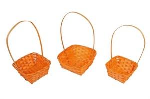 Набор корзин плет бамбук 13*17*19см 3шт оранжевый