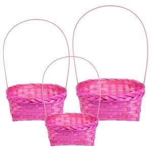 Набор корзин плет бамбук 13*17*19см 3шт розовый