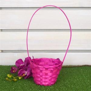 Корзина плетеная бамбук 13*9см розовый