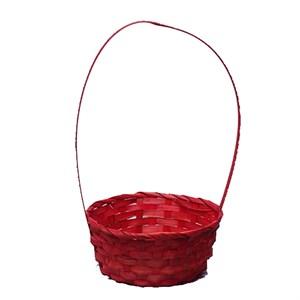 Корзина плетеная бамбук 9*20/35см красный