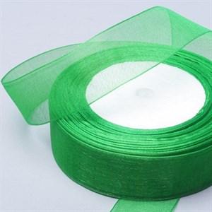 Лента Органза 25мм*30м зеленая