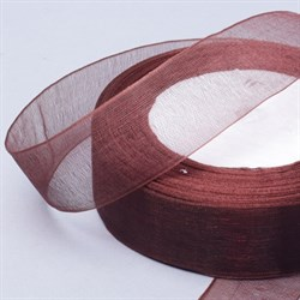 Лента Органза 25мм*30м шоколадная