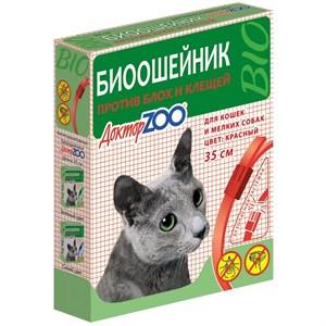 БИОошейник ДОКТОР ЗОО  от блох для кошек и собак красный