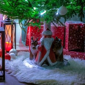 Подставка елочная Дед Мороз с оленями U07813