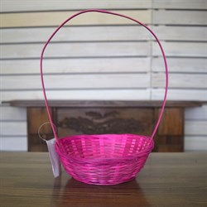 Корзина плетеная бамбук 19*5см розовый