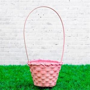 Корзина плетеная бамбук 13*9,5 28см светло-розовый