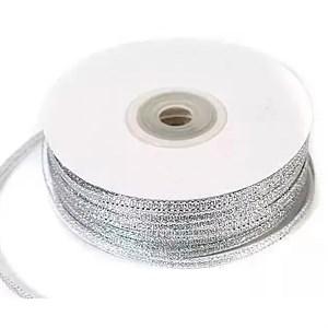 Лента парча 3мм*90м серебро