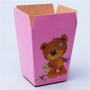 Плайм пакет для цветов 150*120/90 Мишка с ромашками