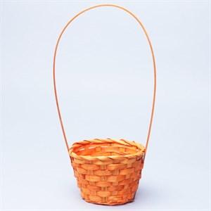 Корзина плетеная бамбук 13*9,5 28см оранжевый 3494