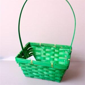 Корзина плетеная бамбук 19*5см зеленый 3579