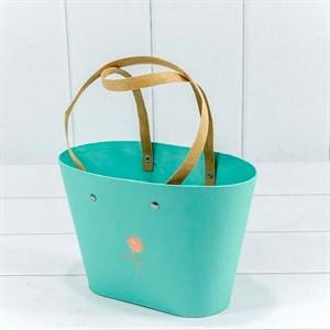 Коробка для цветов Ваза Овальная с соломен. ручками Тиффани 23*12*15
