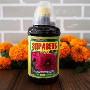 Удобрение Здравень Аква для садовых цветов 0,5л с мерным стаканчиком