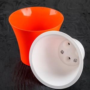 Горшок Сити 15*13 оранжево-белый с вкладышем