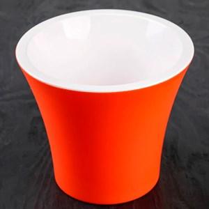 Горшок Сити 17,5*15 оранжево-белый с вкладышем