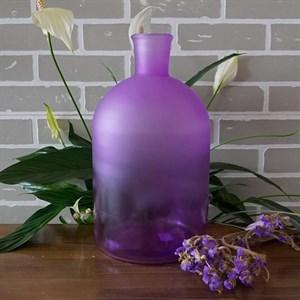 Ваза бутылка 1141 лиловая матово-прозрачная