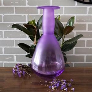 Ваза бутылка 2981 лиловая матово-прозрачная