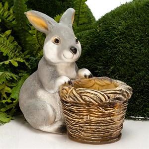 Кашпо Кролик с корзиной